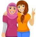 Muslim and Caucasian friends