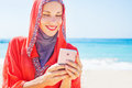 Muslim caucasian (russian) woman wearing red dress Royalty Free Stock Photo