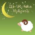 Muslim community festival of sacrifice Eid Ul Adha greeting card, background with sheep moon and stars.
