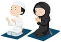 Muslim couple praying on mattress