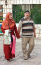 Muslim couple sarajevo bosnia and herzegovina august walk on bascarsija the old town very popular tourist place Royalty Free Stock Photos