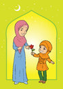A muslim daughter giving mother a flower in head scarf Stock Photo