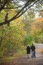 Muslim family walking in urban park Royalty Free Stock Photo