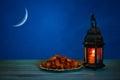 The Muslim feast of the holy month of Ramadan Kareem. Beautiful background with a shining lantern Fanus