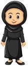 Muslim girl in black outfit