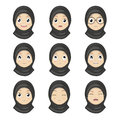 Muslim Girl Emotion Faces Cartoon.Women Expression Faces.