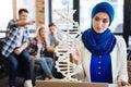 Muslim girl studying genetics Royalty Free Stock Photo
