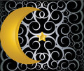 Muslim gold star and crescent on black background Stock Photography