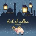 Muslim holiday Eid al-Adha. the sacrifice a ram or white sheep. Graphic design decoration kurban bayrami. Month lamb and