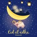 Muslim holiday Eid al-Adha. the sacrifice a ram or white sheep. Graphic design decoration kurban bayrami. Moon, month