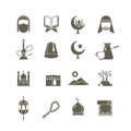 Muslim islamic middle east religion vector icons. Ramadan kareem pictograms