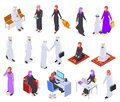 Muslim isometric. Arab 3d people, saudi business woman and man in traditional clothes. Arabian isolated vector