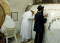 A Muslim and Jewish prayers are praying together in the tomb of the Prophet Samuel. Royalty Free Stock Photo