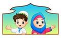 Muslim kid couple holding wood frame and celebrate ramadan