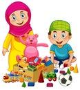 Muslim kids playing toy