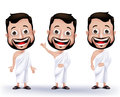 Muslim man characters wearing ihram cloths for performing hajj or umrah set of realistic pilgrimage in makkah in white background Stock Photos