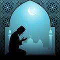 Muslim man praying islamic illustration