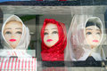 Muslim mannequins three head standing at a shop Stock Images