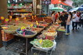 Muslim market in xian china stands the Royalty Free Stock Images