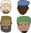 Muslim men with beards diverse set of bearded on white background Royalty Free Stock Photo