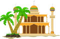Muslim mosque isolated flat facade on white background. Flat with shadows architecture object. Vector cartoon design. Beautiful mu
