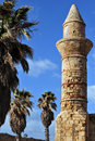 Muslim Mosque tower in Caesarea Stock Photos