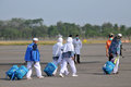 Muslim pilgrims arrived in indonesia after finished the annual haj surakarta october at adi soemarmo international airport Stock Photography