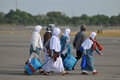 Muslim pilgrims arrived in indonesia after finished the annual haj surakarta october at adi soemarmo international airport Royalty Free Stock Image