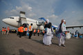 Muslim pilgrims arrived in indonesia after finished the annual haj surakarta october at adi soemarmo international airport Royalty Free Stock Photography