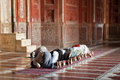 Muslim prayers in the Jama Masjit in Delhi, India Royalty Free Stock Images