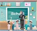 Muslim professor standing in front of blackboard with kids. Royalty Free Stock Photo