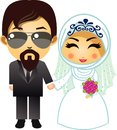 Muslim wedding couple cartoon, bride and groom with flower bouquet.