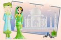 Muslim wedding couple easy to edit vector illustration of Stock Images