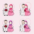 Muslim wedding couple vector cartoon, bride and groom sitting on a chair Royalty Free Stock Photo