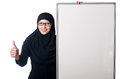Muslim woman with blank board on white Stock Photos