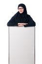 Muslim woman with blank board on white Royalty Free Stock Image