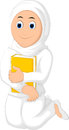 Muslim Woman with Hugging a Book Wearing white Veil
