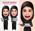 Muslim woman vector character set holding laptop and tablet with beautiful smile