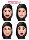 Muslim woman vector characters set of head wearing hijab or head scarf