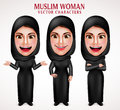 Muslim woman vector characters set wearing hijab black clothes