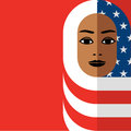 Muslim woman wearing Hijab of the American flag Royalty Free Stock Photo