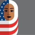 Muslim woman wearing Hijab of the American flag, Royalty Free Stock Photo