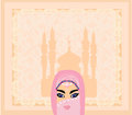 Muslim women on mosque background beautiful Royalty Free Stock Images