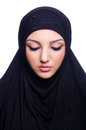 Muslim young woman wearing hijab on white Stock Photos