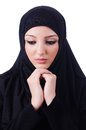 Muslim young woman wearing hijab on white Royalty Free Stock Photography