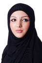 Muslim young woman wearing hijab on white Stock Photo