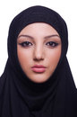 Muslim young woman wearing hijab on white Royalty Free Stock Image