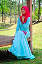 Muslimah lady wear blouse and hijab beautiful posing at garden Stock Photography