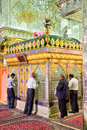 Muslims pray infront of tomb inside Seyed Alaedin Hossein Shrine Royalty Free Stock Image