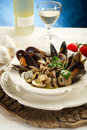 Mussel  and clam soup Stock Image